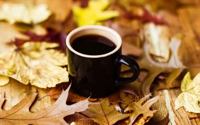 Picture autumn, leaves, coffee, Cup, autumn, leaves, book, fall, cup of coffee