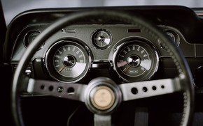 Picture Mustang, Ford, Auto, Retro, Machine, Panel, Salon, Speedometer, Ford, Art, The wheel, Fastback, 1968, Ford …