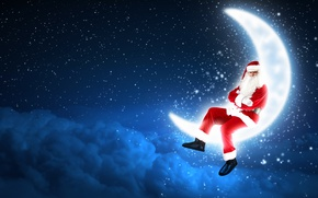 Picture stars, clouds, night, holiday, a month, Santa Claus