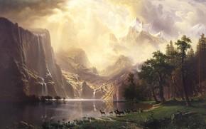 Picture landscape, nature, art, Albert Bierstadt, Albert Bierstadt, Among the Sierra Nevada Mountains-California