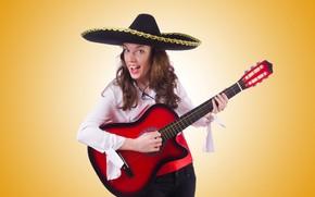 Picture girl, pose, yellow, background, guitar, hat, makeup, hairstyle, blouse, brown hair, plays, pants, sings, sambrero