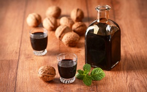 Picture wine, alcohol, nuts, mint, nuts, drinks, bottle