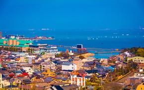 Picture sea, the sky, the sun, trees, coast, home, boats, Japan, roof, horizon, sails, Shiga, Decision