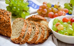 Picture bread, grapes, cakes