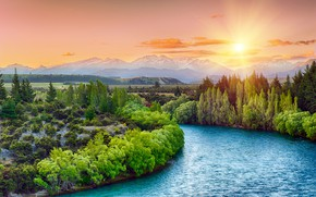 Wallpaper nature, forest, river, sunset