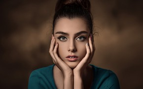 Picture look, face, pose, background, model, portrait, hands, makeup, hairstyle, brown hair, beauty, photoshoot, bokeh, manicure, ...
