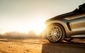 Picture the sun, design, desert, wheel, disk, rays of light, BMW X6M