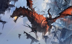 Picture fire, girl, fantasy, flying, wings, battle, digital art, buildings, artwork, fantasy art, jaws, Dragons