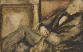Wallpaper watercolor, 1928, Illustration, Grigory Gluck Man, dozing man