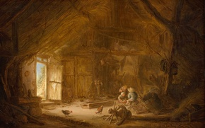 Picture tree, oil, picture, The interior of the Stables with Three Children, Isaac van Ostade