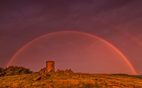 Picture England, tower, rainbow, Leicestershire