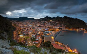 Picture mountains, coast, panorama, Bay, Portugal, night city, Madeira, Portugal, The Atlantic ocean, Atlantic Ocean, Madeira, ...