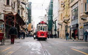 Picture people, street, home, tram