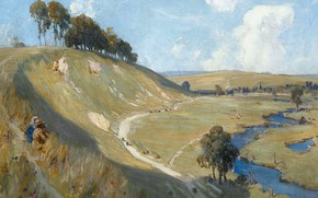 Picture trees, landscape, river, picture, slope, Albert Henry Fullwood, Albert Henry Fullwood, The Valley Of The …