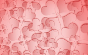 Wallpaper red, love, flower, texture, pink, background, leafs, hearts, abstraction