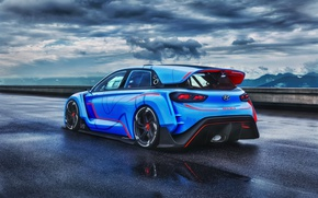 Picture Concept, the sky, clouds, Hyundai, track, rear view, RN30