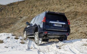 Picture snow, hill, SUV, Toyota, 4x4, Land Cruiser, feed, the five-door, tilt wheel