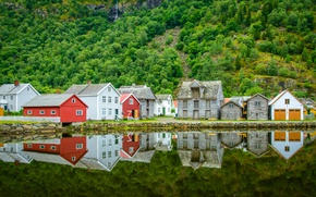 Picture forest, water, trees, mountains, lake, reflection, stones, rocks, shore, waterfall, home, Norway, Laerdalsoyri