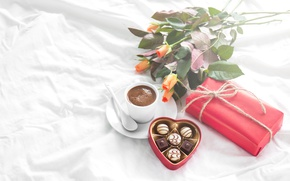 Wallpaper breakfast, heart, love, valentine`s day, roses, gift, coffee, romantic, roses, chocolate, candy