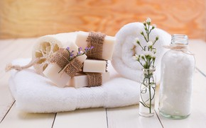 Picture flowers, soap, Spa, Towels