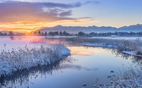 Wallpaper sunset, Uffing am Staffelsee, river, Bayern, Germany, winter, mountains