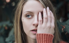 Picture girl, face, eyes, hand