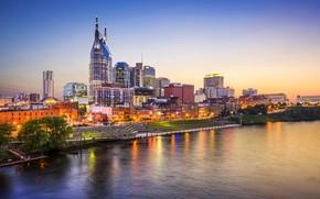 Wallpaper USA, home, Nashville, the evening, lights, Tn