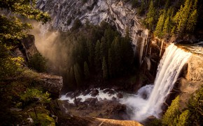 Picture forest, trees, mountains, stones, open, rocks, height, waterfall, CA, USA, Yosemite, Yosemite National Park