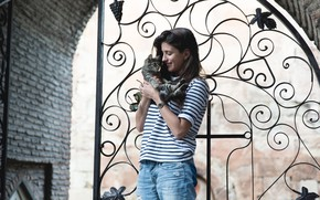 Picture pose, smile, kitty, gate, actress, hair, actress, Anna Chipovskaya, Anna Chipovskaya