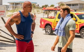 Wallpaper cinema, film, bull, tatoo, movie, beach, Baywatch, Dwayne Johnson, Zac Efron