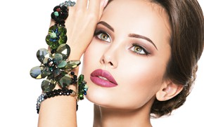 Picture look, girl, hand, makeup, beads, decoration, jewelry