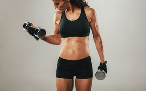Wallpaper Metal, dumbell, arms, sportswear, female, fitness, biceps, workout