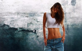 Picture girl, Model, long hair, breast, photo, jeans, brunette, tits, body, belly, chest, tummy, hips, portrait, …