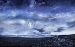 Picture road, the sky, clouds, mountains, ears, Arbor Lux, Digital Alchemy Landscapes