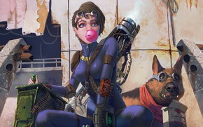 Picture girl, weapons, dog, art, cartridges, postapokalipsis, fallout 4