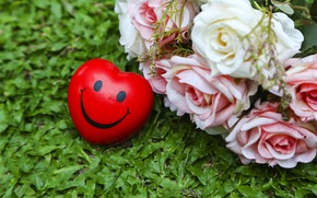 Picture summer, grass, love, heart, roses, smile, summer, love, heart, smile, pink, romantic, roses