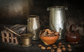 Picture brick, nuts, still life, mortar, utensils, cans