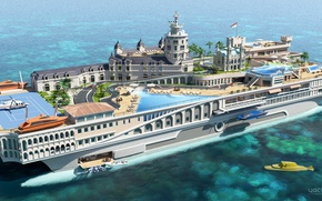 Wallpaper the project, superyacht, Futuristic, the yacht-island, gesign, Yacht-city, Streets of Monaco