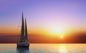 Picture sunset, horizon, the sky, the sun, sails, sea, glow, yacht, graphics