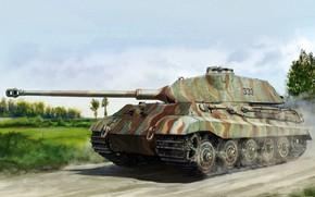 Wallpaper figure, Germany, Tank, Heavy, Royal tiger, King Tiger, Sd.Car.182, Panzerwaffe