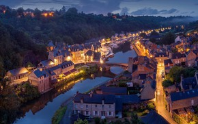 Picture the city, lights, river, France, the evening, France, Dinan