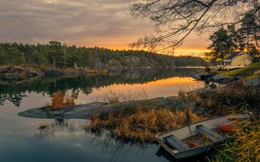 Wallpaper sunset, forest, autumn, river, house, the evening, Sweden, shore, trees, boat, stones
