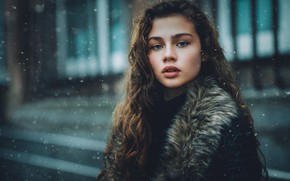 Picture look, girl, snow, hair, portrait, Daniel Bidiuk