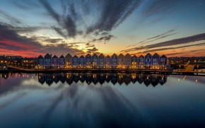 Picture lights, reflection, home, the evening, Netherlands, Houten