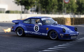 Picture car, asphalt, blue, retro, flame, sport, 911, Porsche, wheel, wallpaper, sport, flame, Porsche, blue, retro, …