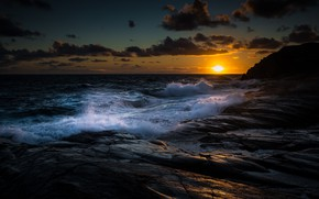 Picture Clouds, Coast, Water, Sunset, Ocean, Gold, Stones, Waves, HDR+