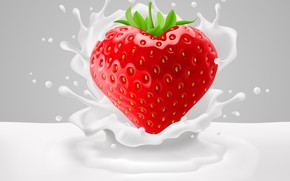 Picture Strawberry, Milk, Squirt, Rendering