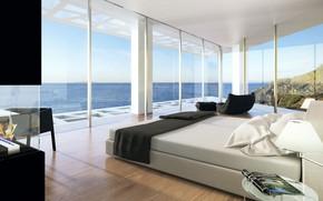 Picture glass, design, Villa, interior, bedroom, Home in Arsuf