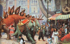 Picture dinosaurs, Bazaar, fantastic painting of the XX century, JAMES GURNEY