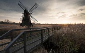 Picture the sky, bridge, mill